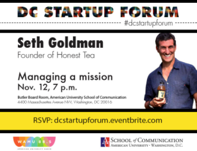 DC StartUp Forum Flyer for Guest Speaker Seth Goldman